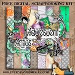 "Free scrapbook kit ""Adolescent Antics"" from everydaymomideas"