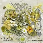 "Free scrapbook kit ""Green Valentine"" from Regina Falango"