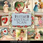 Scrapbook freebie Vintage Valentines Day post card from farfarhill