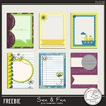 "6 free colorful journaling card from from ""Sun and Fun"" by Damayanti Studio"