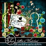 "Free scrapbook kit ""Alice in Wonderland"" from Designs By Vaybs- full size"
