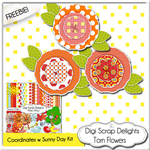 Scrapbook torn flowers elements from Digi Scrap Delights