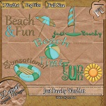 "Free scrapbook ""Just Beachy"" elements from Disyas Digitals Designs"