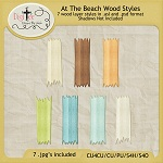 "Free scrapbook ""At The Beach"" wood psd styles from DigiTee Designs"