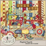 "Free scrapbook kit ""Plauful Fourth"" from DigiTee designs"