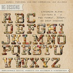 "Free scrapbook alpha letters ""Ephemera"" from HG designs"