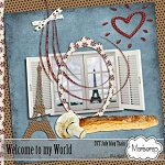 "Free scrapbook kit ""Welcome to my World"" from Mariscrap"