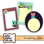 Free scrapbook cute owl labels from Digital Graphics Cafe