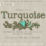 Free scrapbook turqouise text photoshop style from HG designs