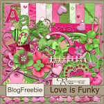 "Free scrapbook ""Love is funky"" from Rebecca's Scrapping Silliness"