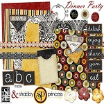 "Free digital scrapbook kit ""Dinner Party"" from ShabbyPrincess"