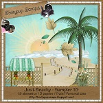 "Free scrapbook ""Just Beachy"" kit fromTootypup Scraps"