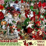 "Free digital scrapbook kit ""Under the Xmas tree"" from WaterLo Project"