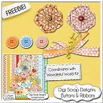 Scrapbook buttons and ribbons from Digi Scrap Delights
